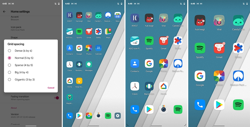 Adjust Icons Grid Spacing in Shade Launcher Settings