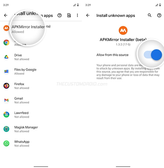 """Turn ON """"Install from this source"""" for APKMirror Installer app"""