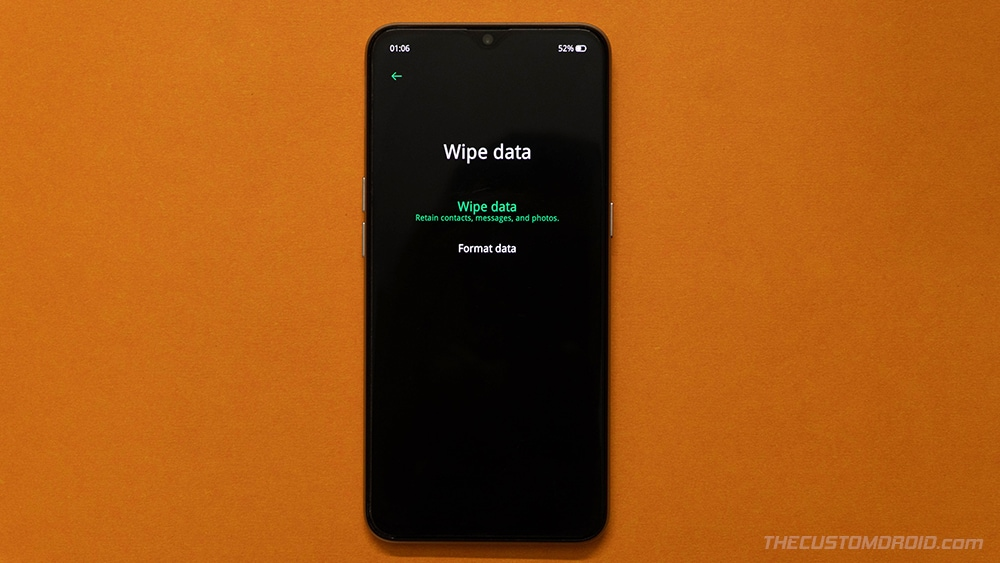 Select 'Format Data' in Realme X2 Pro Stock Recovery