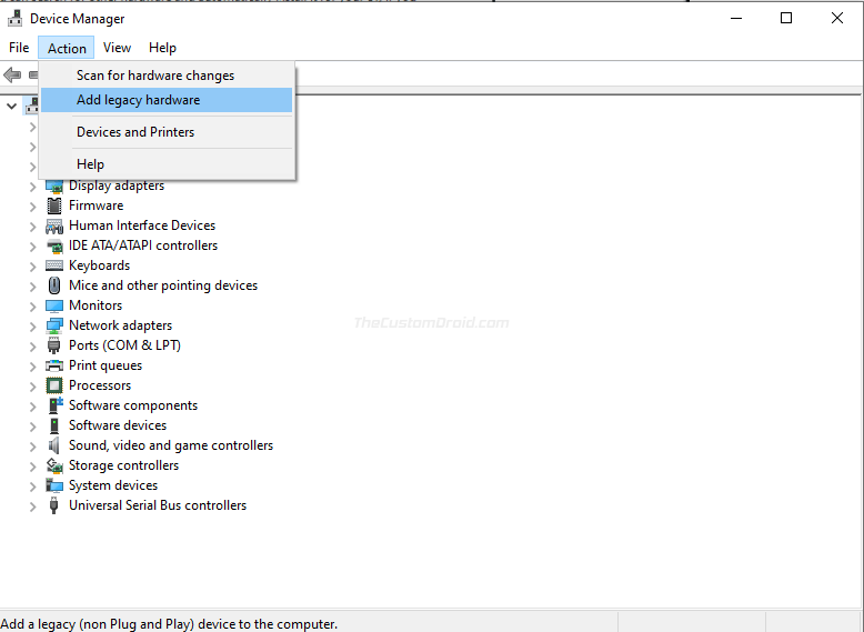 """Select """"Add Legacy Hardware"""" in Windows Device Manager"""