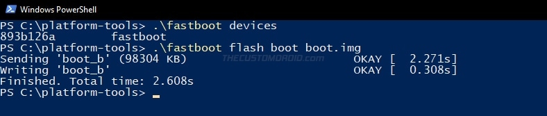 Enter fastboot command to flash boot image to the OnePlus 8T